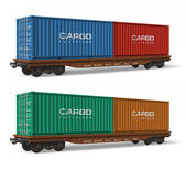 Railroad flatcars with cargo containers — Stock Photo