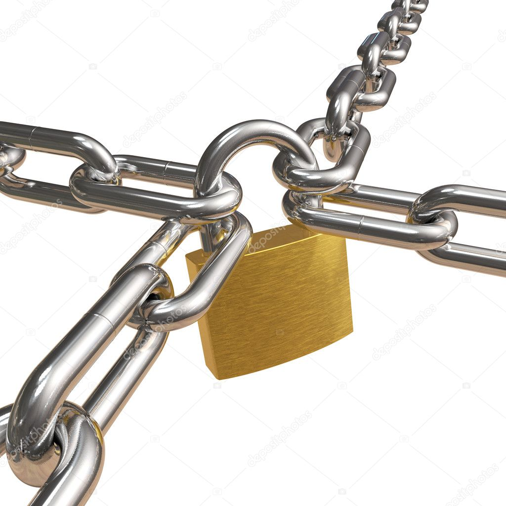 Crossed chains with lock — Stock Photo #4032805