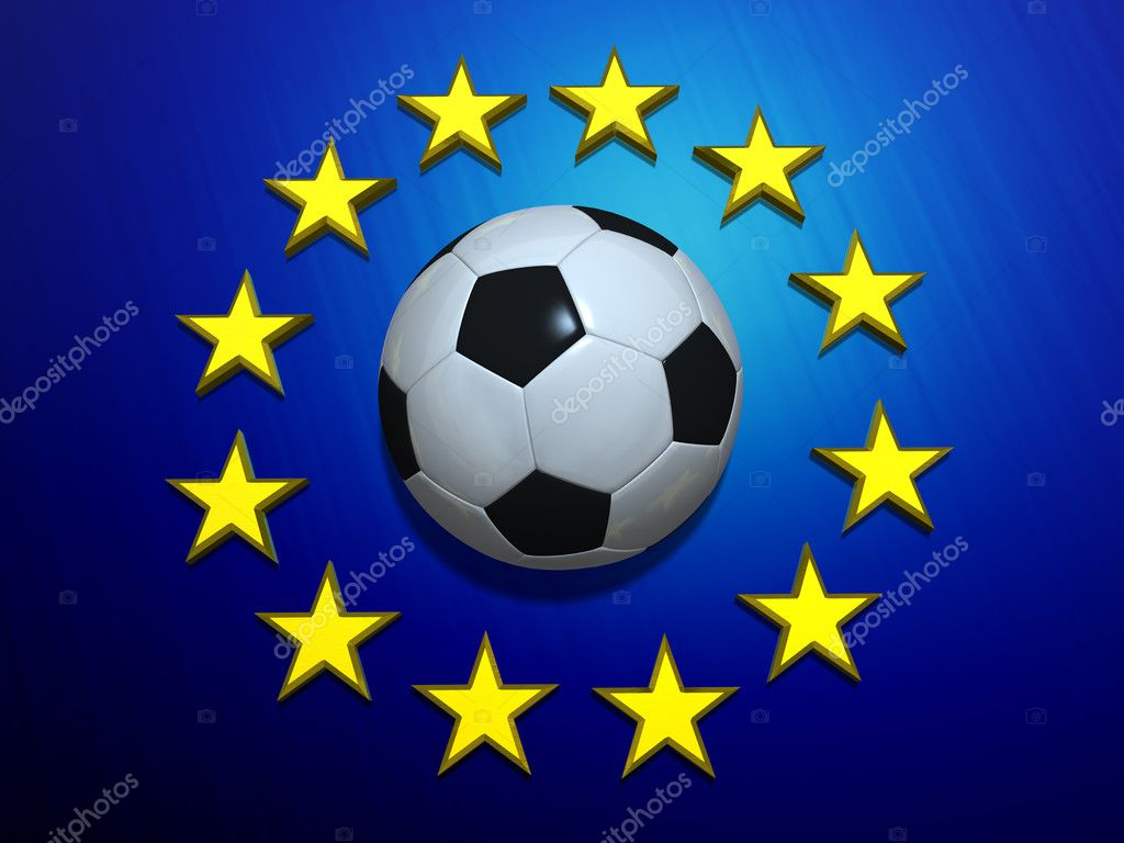 Soccer ball on European Union flag — Stockfoto #4032962