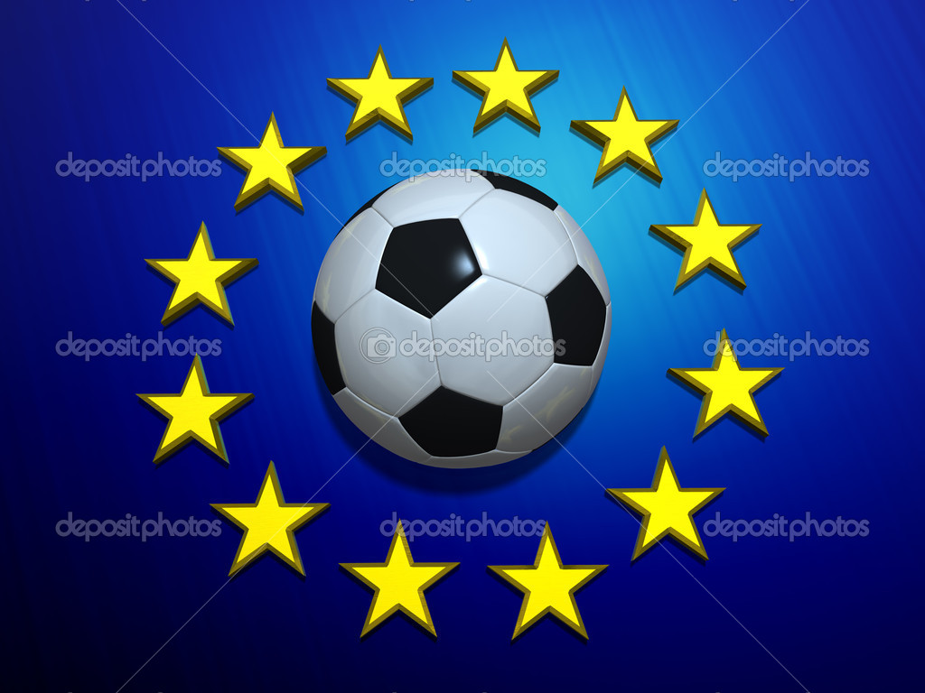 Soccer ball on European Union flag — Foto de Stock   #4032962