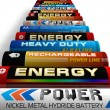 Row of different AA batteries — Stockfoto