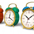 Color vintage alarm clocks — Stock Photo