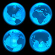 Blue glowing Earth globes set — Stock Photo