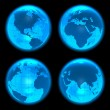 Blue glowing Earth globes set — Stockfoto
