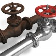 New and rusty pipeline — Stock Photo