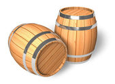 Two wooden barrels — Stock Photo