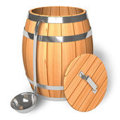 Opened wooden barrel with scoop — Stock Photo