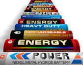 Row of different AA batteries — Stock Photo