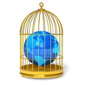 Earth globe in golden cage — Stock Photo