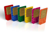 Set of color SIM cards — Stock Photo