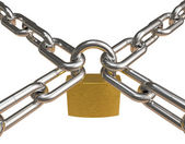 Crossed chains with padlock — Stock Photo