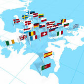 European flags on the map — Stock Photo