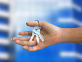 Bunch of shiny keys in woman's hand — Foto Stock