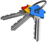 Bunch of color house-shape keys — Stock Photo