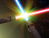 Battle with light sabers — Stock Photo