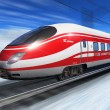 Winter high speed train — Stock Photo