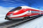 Winter high speed train — Stock Photo