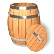Opened wooden barrel — Stock Photo