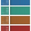Set of cargo container templates — Stock Photo