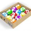 Box with color globes — Stock Photo #4186309