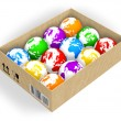 Box with color globes — Stock Photo