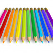 Stock Photo: Row of rainbow pencils