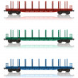 Set of railroad flatcars — Stock fotografie #4186444