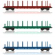Set of railroad flatcars — Stockfoto #4186444