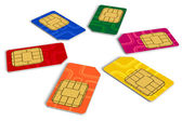 Circle from color SIM cards — Stock Photo