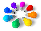 Rainbow lamps in circle — Stock Photo