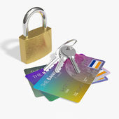 Credit cards and security — 图库照片