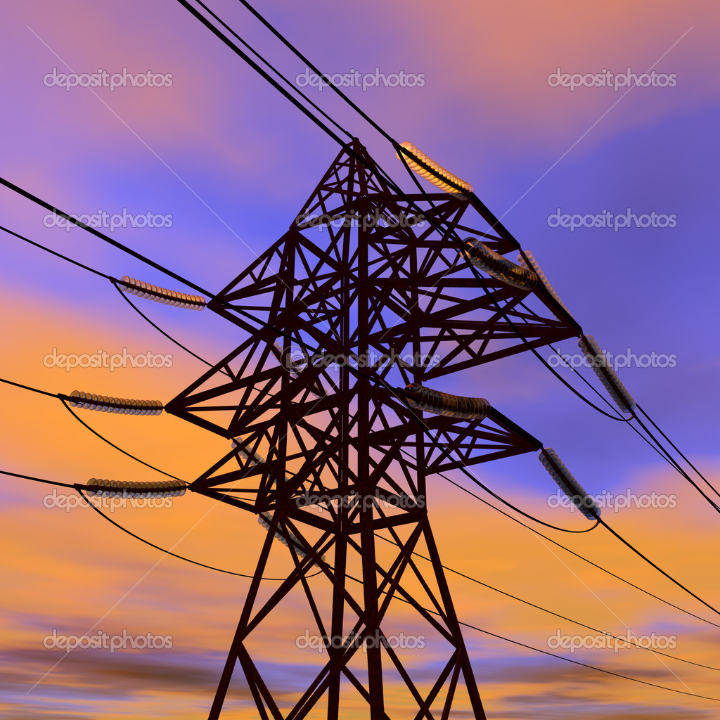 High voltage power line in sunset — Stock Photo © scanrail ...