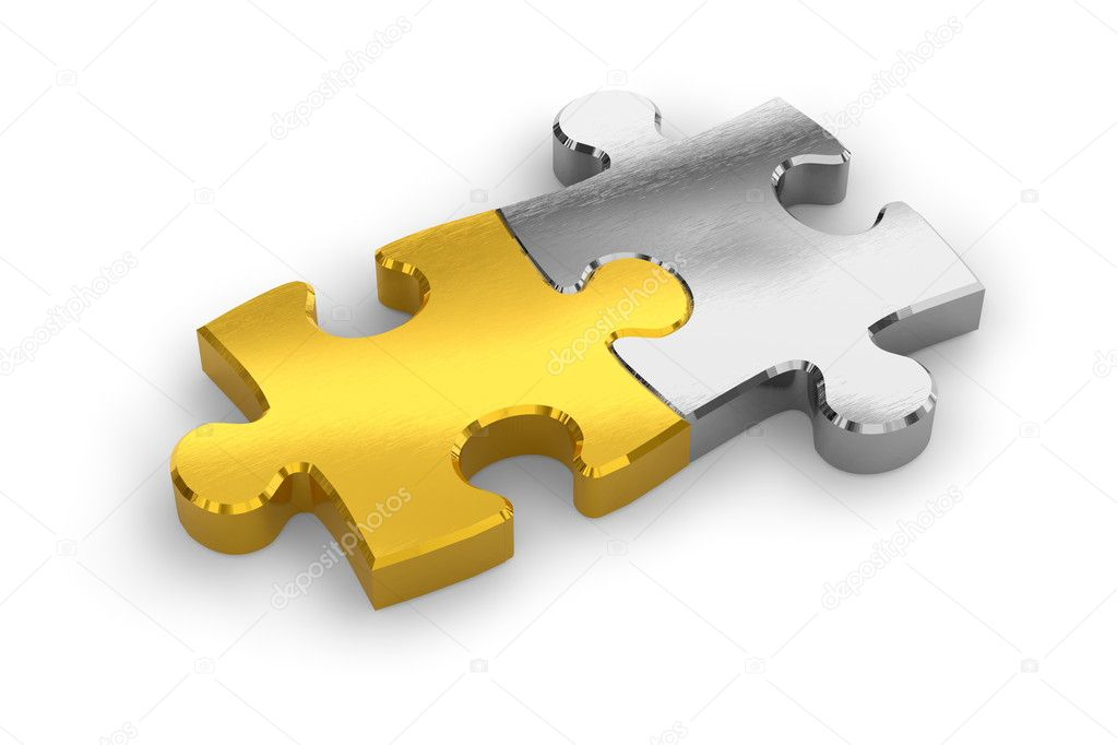 Two joined puzzle pieces — Stock Photo #4186448