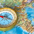 Compass on the map — Stockfoto