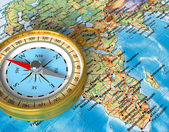 Compass on the map — Foto Stock