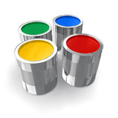 Cans with color paint — Stock Photo