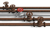 New pipeline within rusty ones — Stock Photo