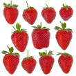 Set of isolated strawberries — Stock Photo