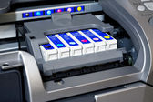 Ink cartridges in printer — Stock Photo