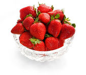 Strawberries in crystal bowl — Stock Photo