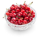 Cherries in crystal bowl — Stock Photo