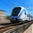 High-speed train with motion blur - 图库照片
