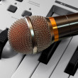 Microphone on synthesizer - Stok fotoraf