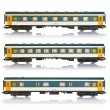 Set of miniature passenger railroad cars - Stock Photo
