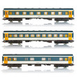 Set of miniature passenger railroad cars — Stock Photo