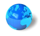 Blue glossy Earth globe — Stockfoto