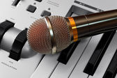 Microphone on synthesizer — Stock Photo