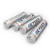 Vier aa oplaadbare batterijen — Stockfoto