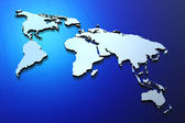Blue extruded world map — Stock Photo