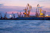 Evening cargo port — Stock Photo